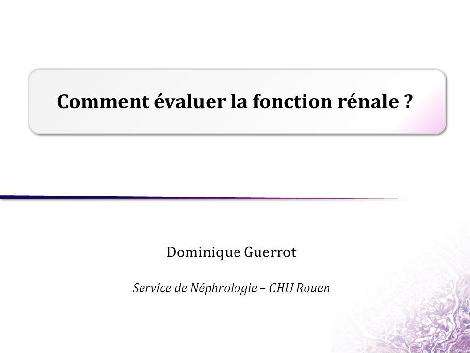 Comment évaluer la fonction rénale ? Dominique Guerrot Service de Néphrologie – CHU Rouen