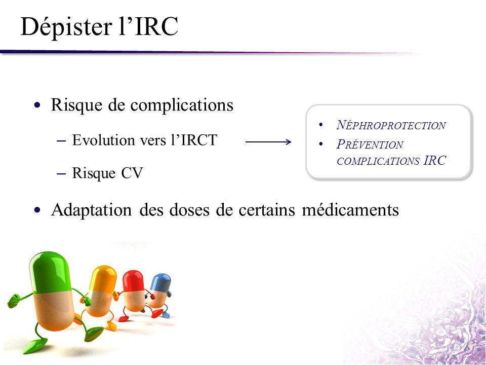 Dépister l'IRC Risque de complications – Evolution vers l'IRCT – Risque CV Adaptation des doses de certains médicaments