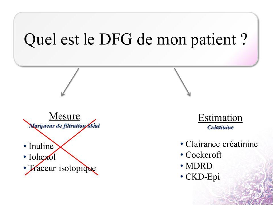 Mesure Marqueur de filtration idéal Inuline Iohexol Traceur isotopique EstimationCréatinine Clairance créatinine Cockcroft MDRD CKD-Epi Quel est le DF