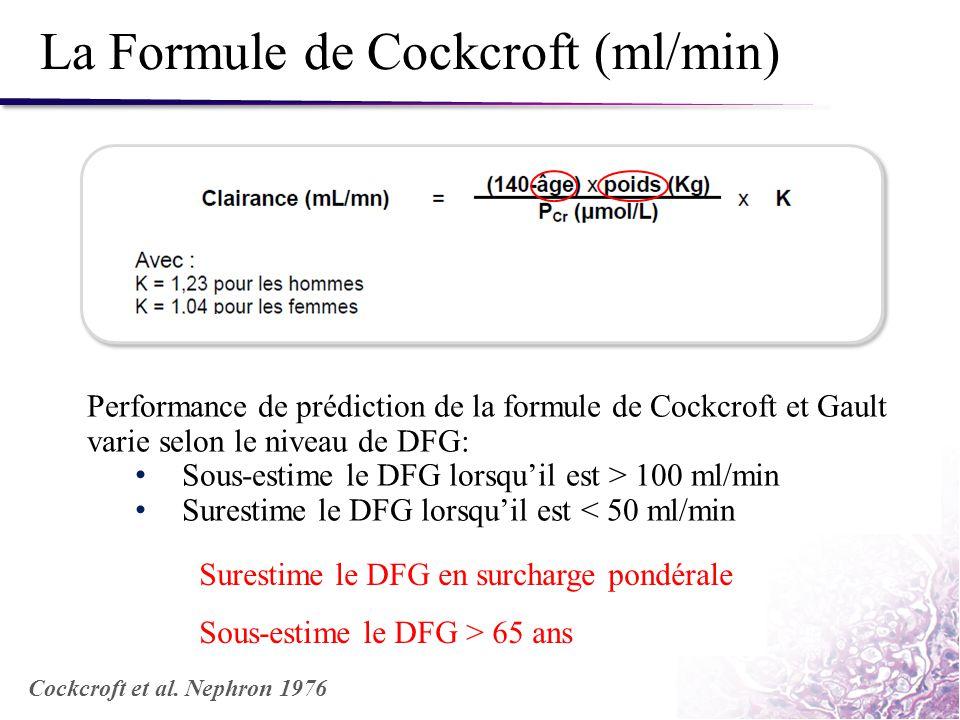 La Formule de Cockcroft (ml/min) Performance de prédiction de la formule de Cockcroft et Gault varie selon le niveau de DFG: Sous-estime le DFG lorsqu