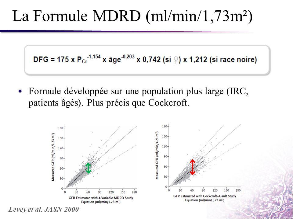 La Formule MDRD (ml/min/1,73m²) Formule développée sur une population plus large (IRC, patients âgés). Plus précis que Cockcroft. Levey et al. JASN 20