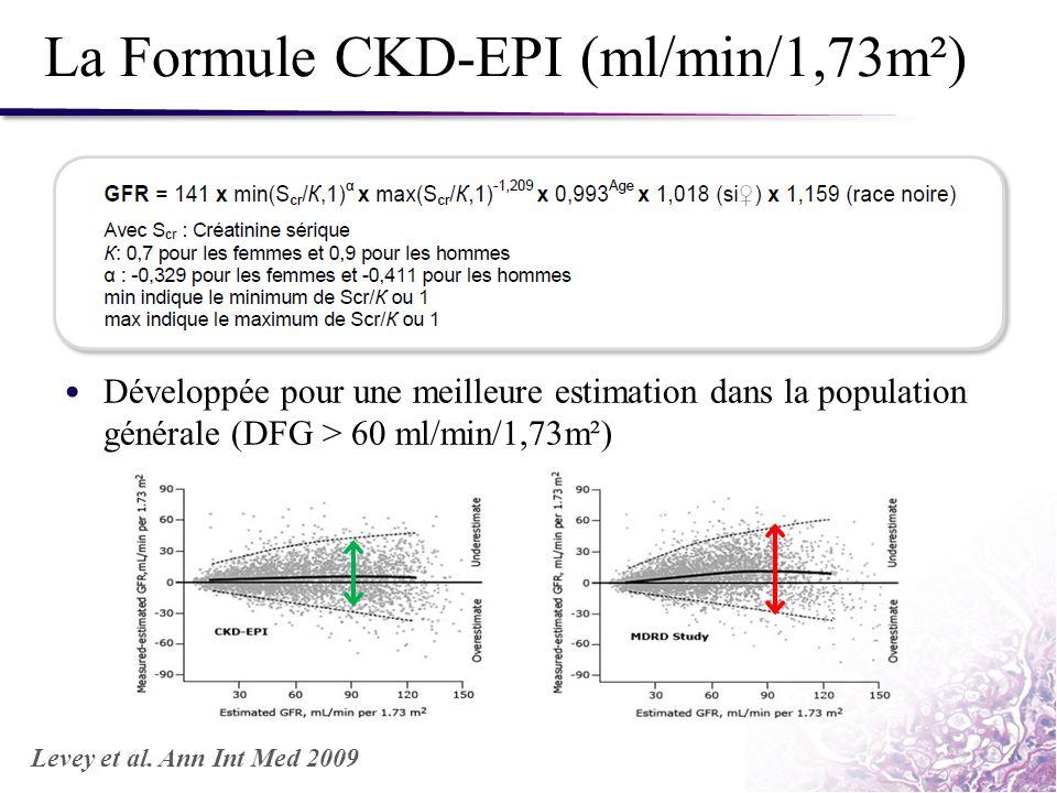 La Formule CKD-EPI (ml/min/1,73m²) Développée pour une meilleure estimation dans la population générale (DFG > 60 ml/min/1,73m²) Levey et al. Ann Int