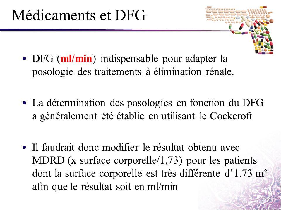 Médicaments et DFG DFG (ml/min) indispensable pour adapter la posologie des traitements à élimination rénale. La détermination des posologies en fonct