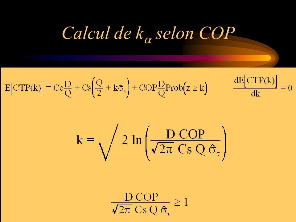 Calcul de k  selon COP