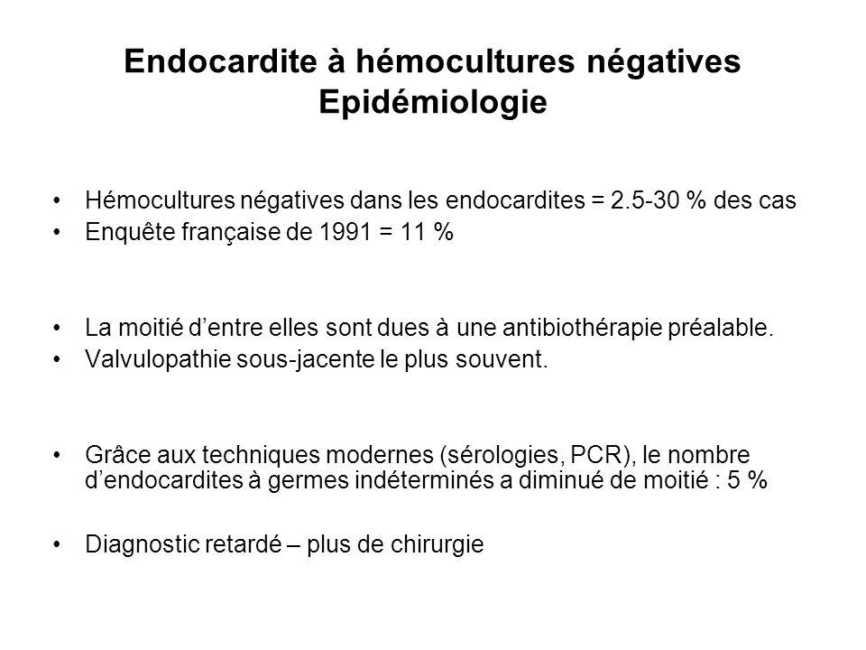 Endocardite à hémocultures négatives Epidémiologie Hémocultures négatives dans les endocardites = 2.5-30 % des cas Enquête française de 1991 = 11 % La