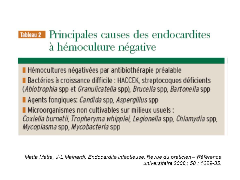 Matta Matta, J-L Mainardi. Endocardite infectieuse. Revue du praticien – Référence universitaire 2008 ; 58 : 1029-35.