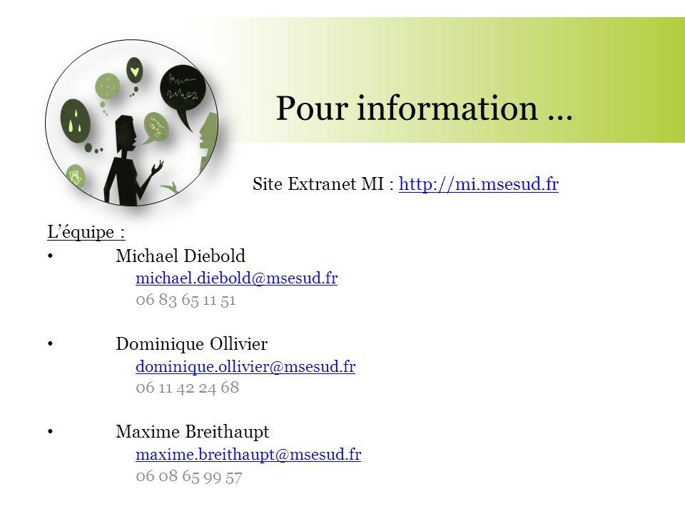 Pour information … Site Extranet MI : http://mi.msesud.frhttp://mi.msesud.fr L'équipe : Michael Diebold michael.diebold@msesud.fr 06 83 65 11 51 Domin
