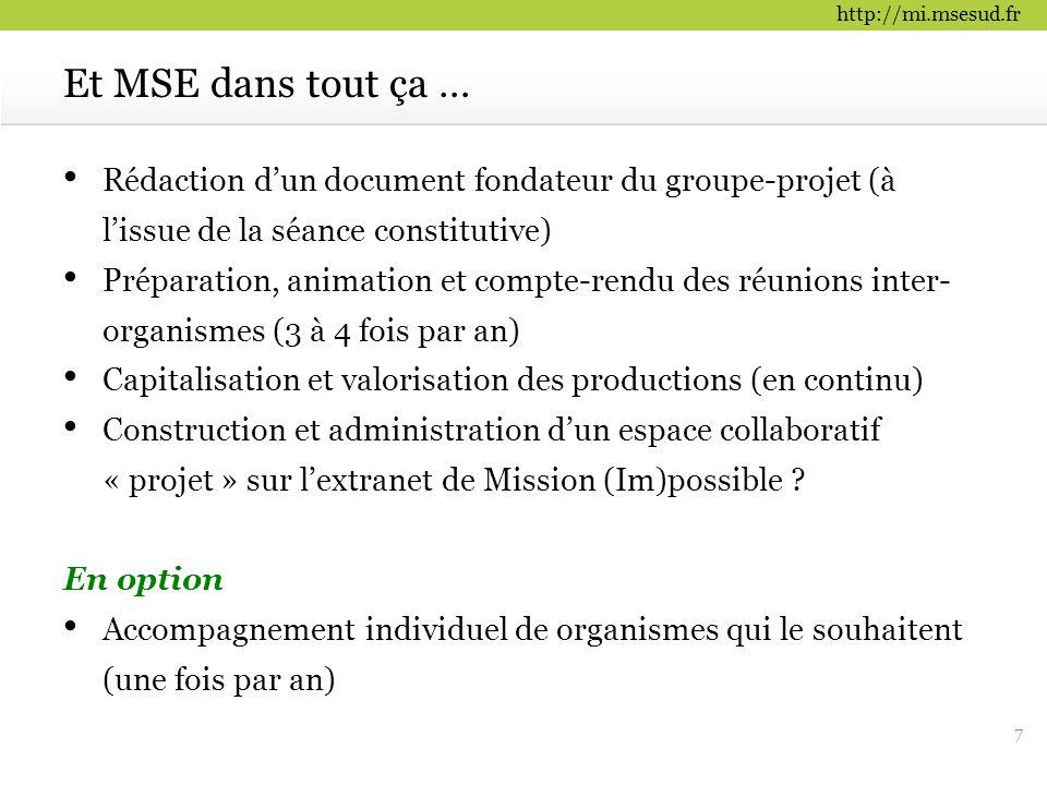 http://mi.msesud.fr Rédaction d'un document fondateur du groupe-projet (à l'issue de la séance constitutive) Préparation, animation et compte-rendu de