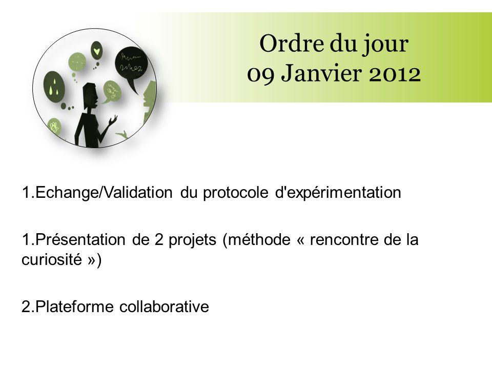 Ordre du jour 09 Janvier 2012 1.Echange/Validation du protocole d'expérimentation 1.Présentation de 2 projets (méthode « rencontre de la curiosité »)