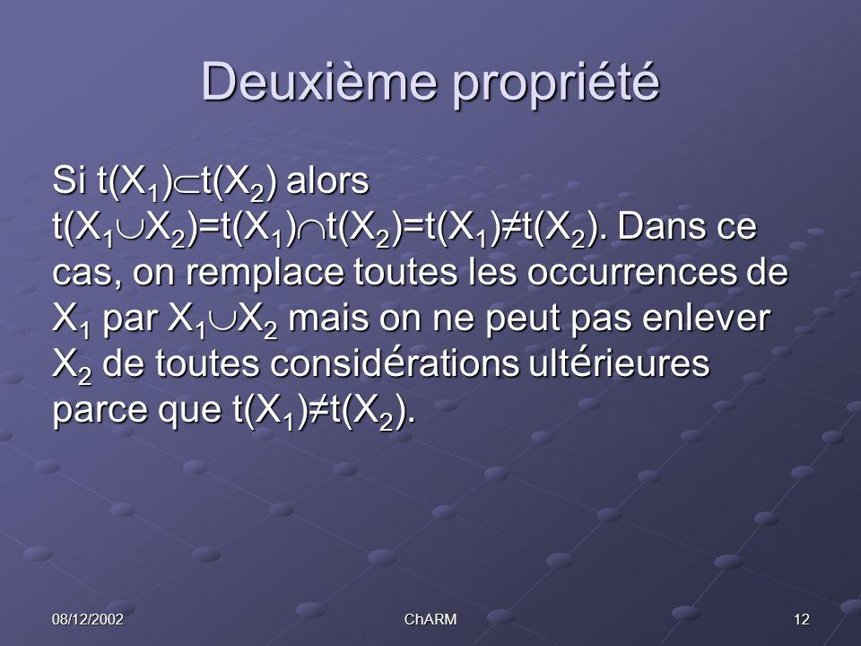 1208/12/2002ChARM Deuxième propriété Si t(X 1 )  t(X 2 ) alors t(X 1  X 2 )=t(X 1 )  t(X 2 )=t(X 1 )≠t(X 2 ).