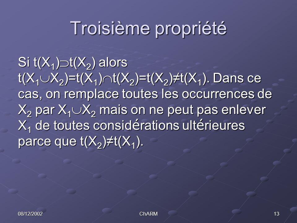 1308/12/2002ChARM Troisième propriété Si t(X 1 )  t(X 2 ) alors t(X 1  X 2 )=t(X 1 )  t(X 2 )=t(X 2 )≠t(X 1 ).
