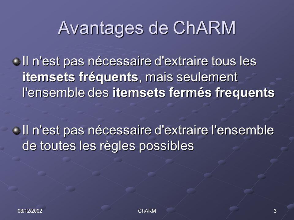 308/12/2002ChARM Avantages de ChARM Il n est pas nécessaire d extraire tous les itemsets fréquents, mais seulement l ensemble des itemsets fermés frequents Il n est pas nécessaire d extraire l ensemble de toutes les règles possibles