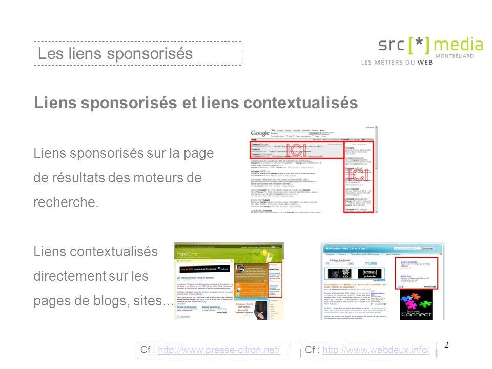 3 Liens sponsorisés et liens contextualisés Liens sponsorisés : intérêt = générer du trafic ciblé (personne qui recherche un service, une information activement) et rapidement (délai très court de la visibilité dans les pages de résultats).