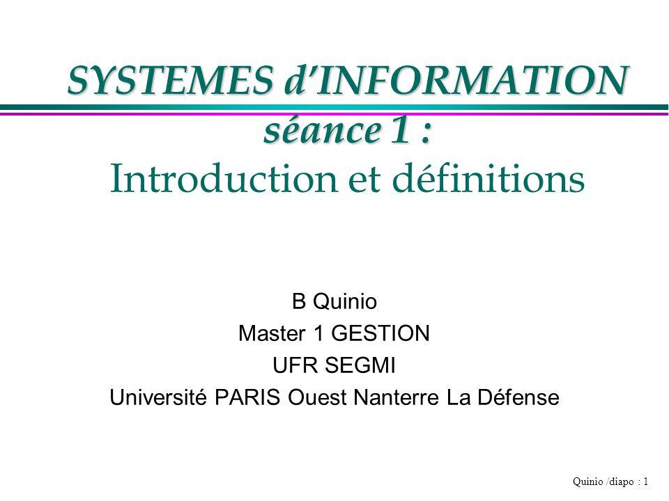 Quinio /diapo : 12 3 niveaux du système d ' information l Social »Hommes, femmes, culture l Organisation »Processus l Techniques »Informatiques …