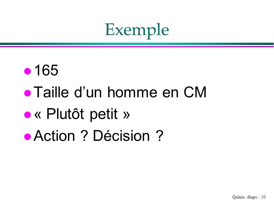 Quinio /diapo : 10 Exemple l 165 l Taille d'un homme en CM l « Plutôt petit » l Action ? Décision ?