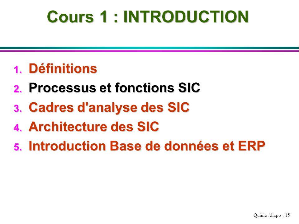 Quinio /diapo : 15 Cours 1 : INTRODUCTION 1. Définitions 2. Processus et fonctions SIC 3. Cadres d'analyse des SIC 4. Architecture des SIC 5. Introduc
