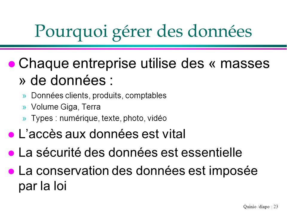 Quinio /diapo : 23 Pourquoi gérer des données l Chaque entreprise utilise des « masses » de données : »Données clients, produits, comptables »Volume G