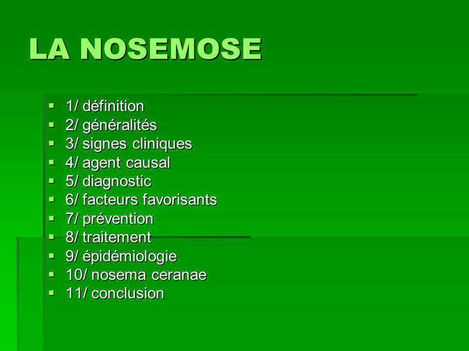  1/ définition  2/ généralités  3/ signes cliniques  4/ agent causal  5/ diagnostic  6/ facteurs favorisants  7/ prévention  8/ traitement  9