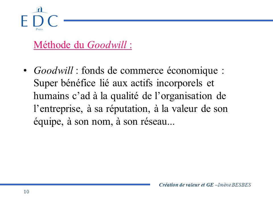 Création de valeur et GE –Imène BESBES 10 Méthode du Goodwill : Goodwill : fonds de commerce économique : Super bénéfice lié aux actifs incorporels et humains c'ad à la qualité de l'organisation de l'entreprise, à sa réputation, à la valeur de son équipe, à son nom, à son réseau...