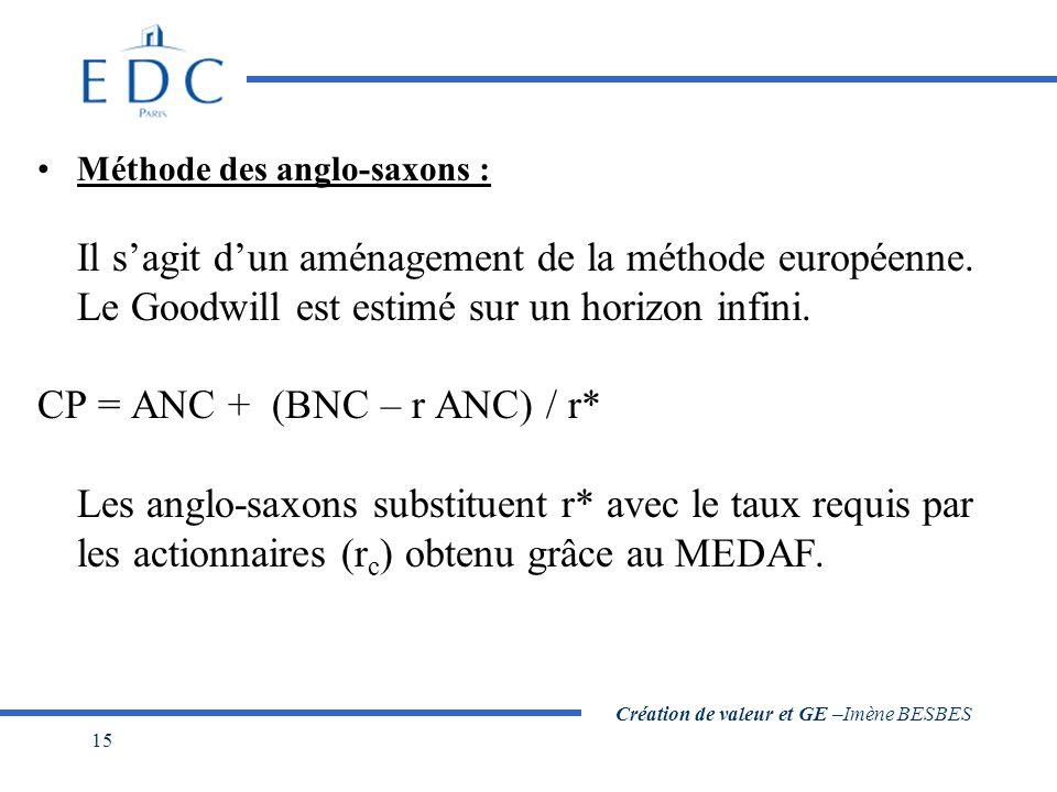 Création de valeur et GE –Imène BESBES 15 Méthode des anglo-saxons : Il s'agit d'un aménagement de la méthode européenne. Le Goodwill est estimé sur u