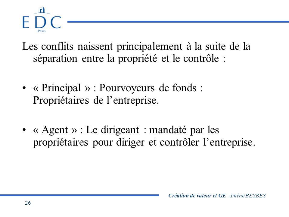 Création de valeur et GE –Imène BESBES 26 Les conflits naissent principalement à la suite de la séparation entre la propriété et le contrôle : « Principal » : Pourvoyeurs de fonds : Propriétaires de l'entreprise.