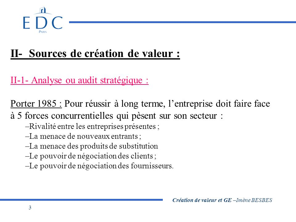 Création de valeur et GE –Imène BESBES 3 II- Sources de création de valeur : II-1- Analyse ou audit stratégique : Porter 1985 : Pour réussir à long te