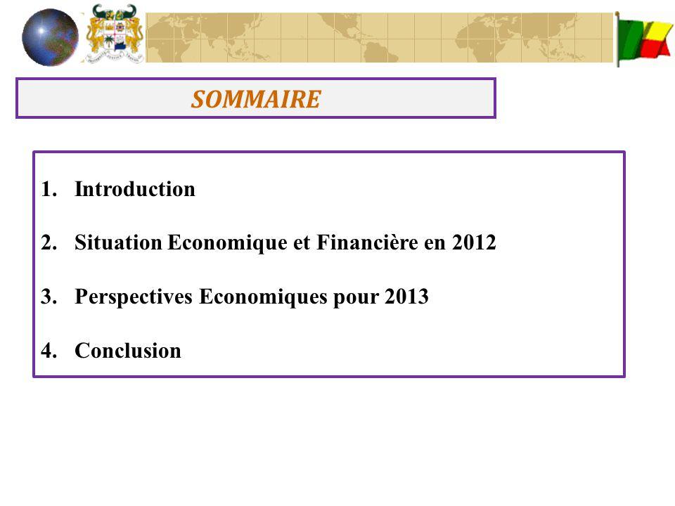 INTRODUCTION Après deux années consécutives de ralentissement imputable notamment aux effets de la crise économique internationale et des graves inondations de l'année 2010, l'économie béninoise a affiché à partir de 2011, une reprise.