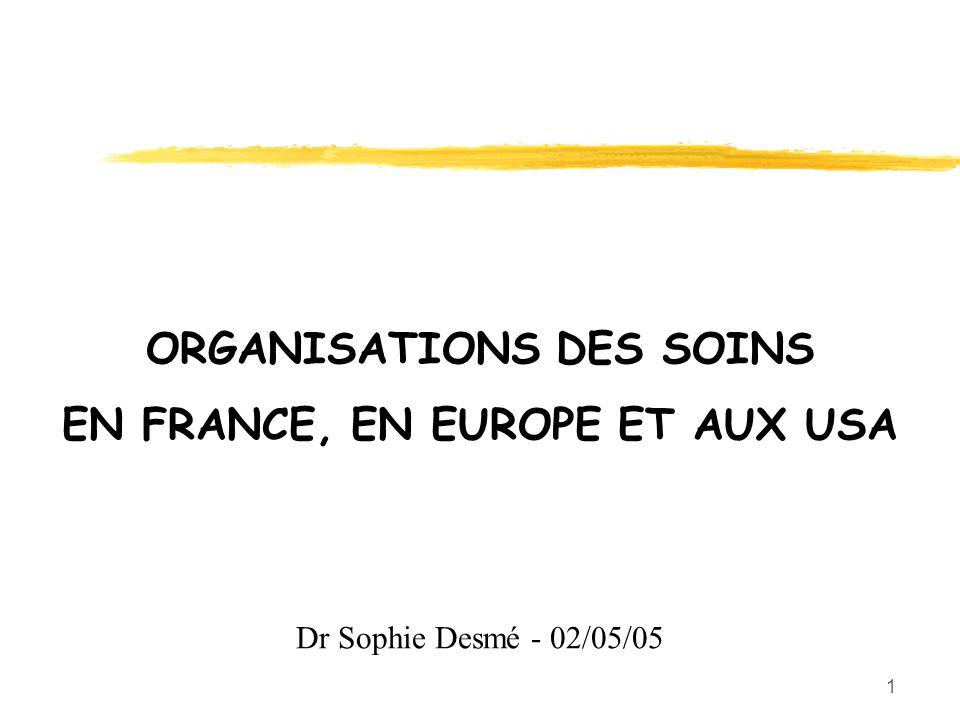 1 ORGANISATIONS DES SOINS EN FRANCE, EN EUROPE ET AUX USA Dr Sophie Desmé - 02/05/05