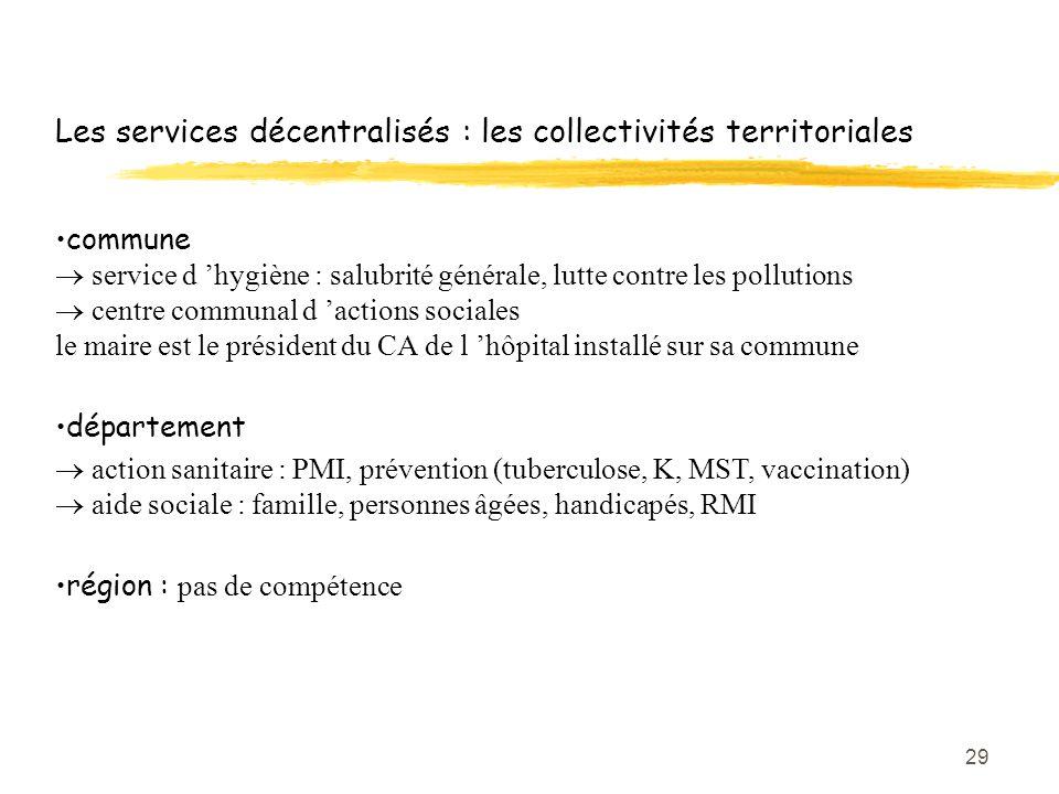29 Les services décentralisés : les collectivités territoriales commune  service d 'hygiène : salubrité générale, lutte contre les pollutions  centr