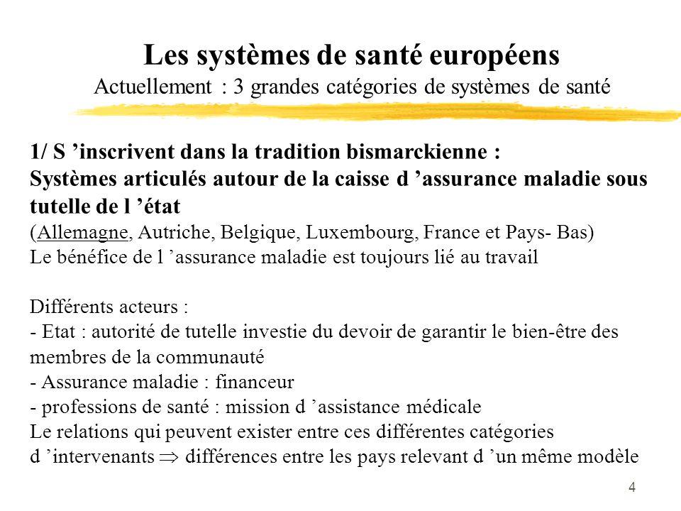 4 Les systèmes de santé européens Actuellement : 3 grandes catégories de systèmes de santé 1/ S 'inscrivent dans la tradition bismarckienne : Systèmes