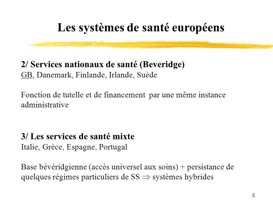 5 Les systèmes de santé européens 2/ Services nationaux de santé (Beveridge) GB, Danemark, Finlande, Irlande, Suède Fonction de tutelle et de financem