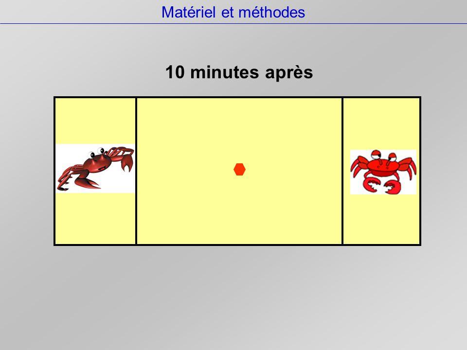 Matériel et méthodes  un crabe de chaque espèce seul ou  deux crabes de la même espèce ou  deux crabes d'espèces différentes.