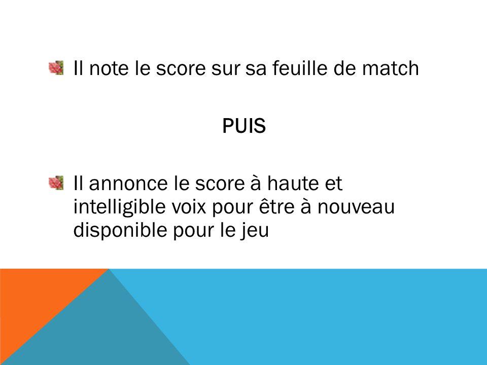 Il note le score sur sa feuille de match PUIS Il annonce le score à haute et intelligible voix pour être à nouveau disponible pour le jeu