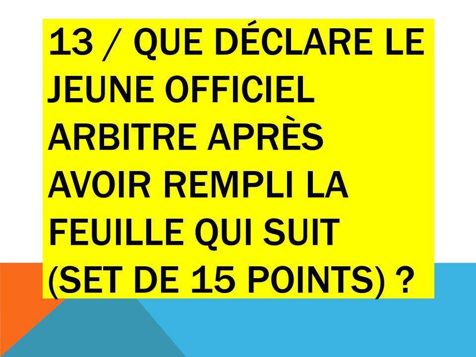 13 / QUE DÉCLARE LE JEUNE OFFICIEL ARBITRE APRÈS AVOIR REMPLI LA FEUILLE QUI SUIT (SET DE 15 POINTS) ?