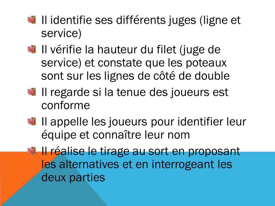 Il identifie ses différents juges (ligne et service) Il vérifie la hauteur du filet (juge de service) et constate que les poteaux sont sur les lignes
