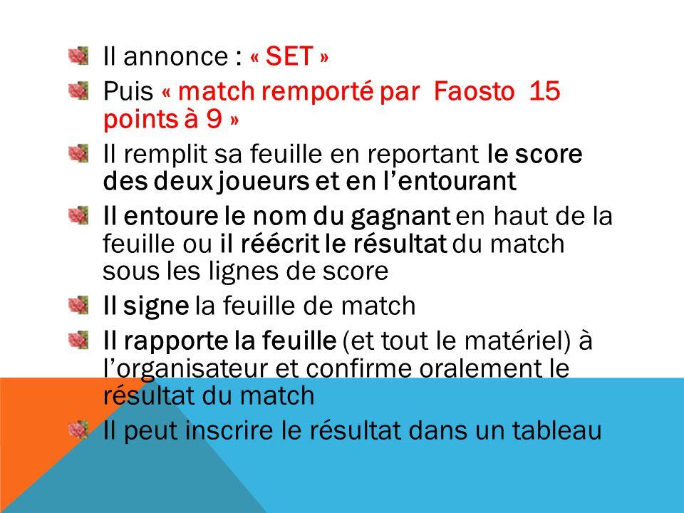 Il annonce : « SET » Puis « match remporté par Faosto 15 points à 9 » Il remplit sa feuille en reportant le score des deux joueurs et en l'entourant I