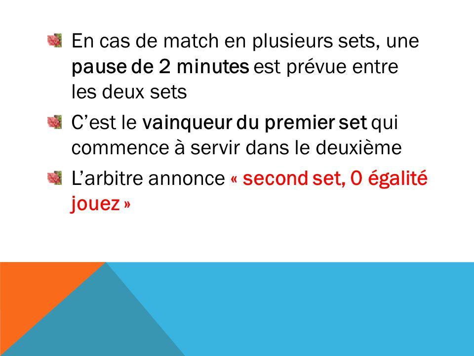 En cas de match en plusieurs sets, une pause de 2 minutes est prévue entre les deux sets C'est le vainqueur du premier set qui commence à servir dans