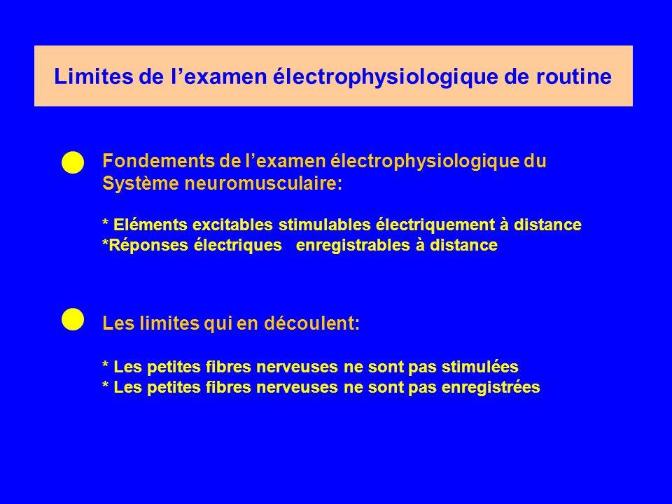Limites de l'examen électrophysiologique de routine Fondements de l'examen électrophysiologique du Système neuromusculaire: * Eléments excitables stimulables électriquement à distance *Réponses électriques enregistrables à distance Les limites qui en découlent: * Les petites fibres nerveuses ne sont pas stimulées * Les petites fibres nerveuses ne sont pas enregistrées