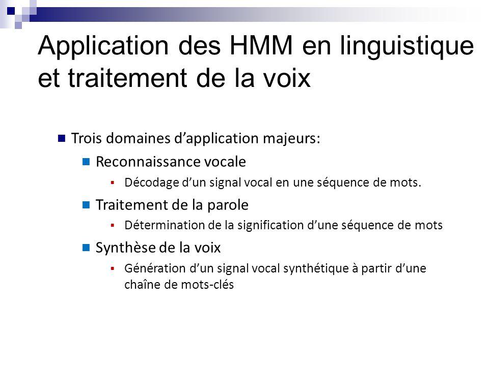 Trois domaines d'application majeurs: Reconnaissance vocale  Décodage d'un signal vocal en une séquence de mots. Traitement de la parole  Déterminat