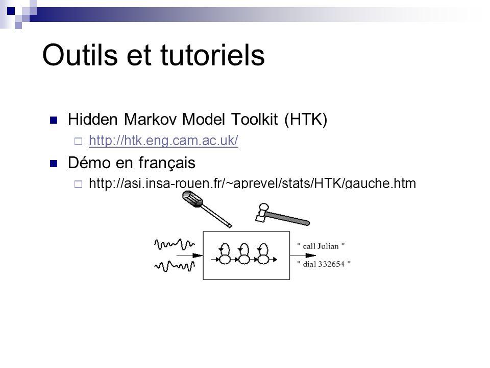 Outils et tutoriels Hidden Markov Model Toolkit (HTK)  http://htk.eng.cam.ac.uk/ http://htk.eng.cam.ac.uk/ Démo en français  http://asi.insa-rouen.f