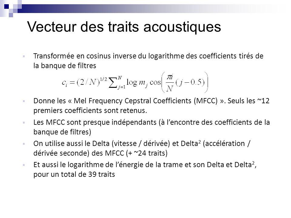 Vecteur des traits acoustiques  Transformée en cosinus inverse du logarithme des coefficients tirés de la banque de filtres  Donne les « Mel Frequen
