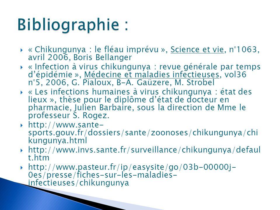  « Chikungunya : le fléau imprévu », Science et vie, n°1063, avril 2006, Boris Bellanger  « Infection à virus chikungunya : revue générale par temps