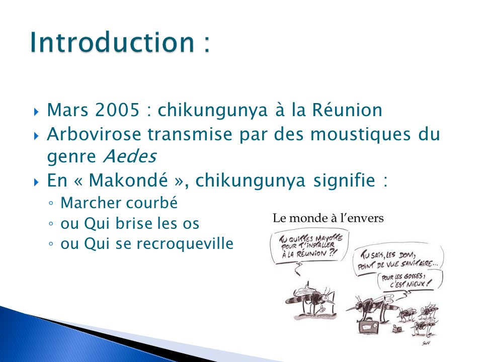  Mars 2005 : chikungunya à la Réunion  Arbovirose transmise par des moustiques du genre Aedes  En « Makondé », chikungunya signifie : ◦ Marcher cou