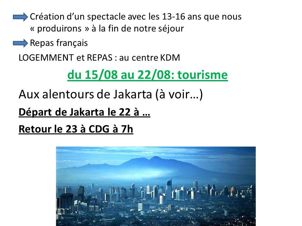 Création d'un spectacle avec les 13-16 ans que nous « produirons » à la fin de notre séjour Repas français LOGEMMENT et REPAS : au centre KDM du 15/08 au 22/08: tourisme Aux alentours de Jakarta (à voir…) Départ de Jakarta le 22 à … Retour le 23 à CDG à 7h