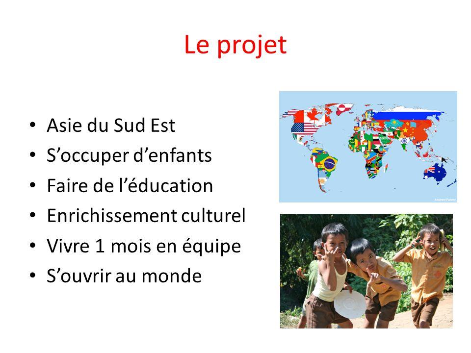 Le projet Asie du Sud Est S'occuper d'enfants Faire de l'éducation Enrichissement culturel Vivre 1 mois en équipe S'ouvrir au monde