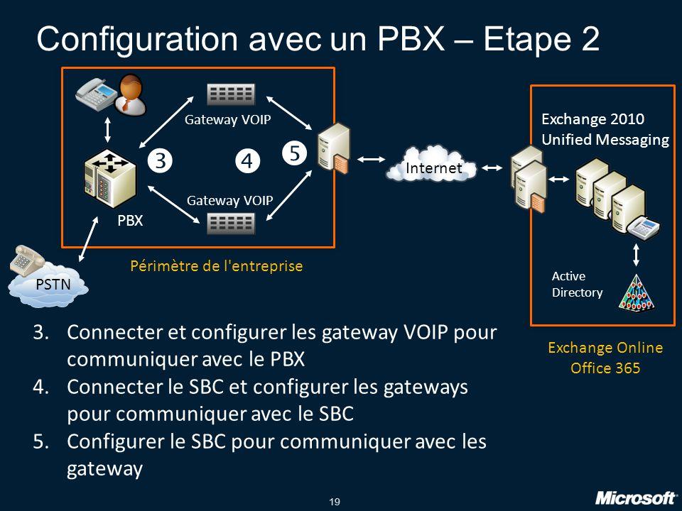19 Configuration avec un PBX – Etape 2 PBX PSTN Gateway VOIP Exchange 2010 Unified Messaging Internet Active Directory Périmètre de l entreprise Exchange Online Office 365 3.Connecter et configurer les gateway VOIP pour communiquer avec le PBX 4.Connecter le SBC et configurer les gateways pour communiquer avec le SBC 5.Configurer le SBC pour communiquer avec les gateway   