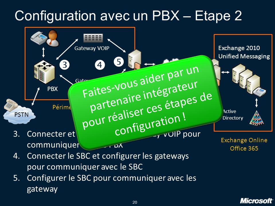 20 Configuration avec un PBX – Etape 2 PBX PSTN Gateway VOIP Exchange 2010 Unified Messaging Internet Active Directory Périmètre de l entreprise Exchange Online Office 365 3.Connecter et configurer les gateway VOIP pour communiquer avec le PBX 4.Connecter le SBC et configurer les gateways pour communiquer avec le SBC 5.Configurer le SBC pour communiquer avec les gateway    Faites-vous aider par un partenaire intégrateur pour réaliser ces étapes de configuration !