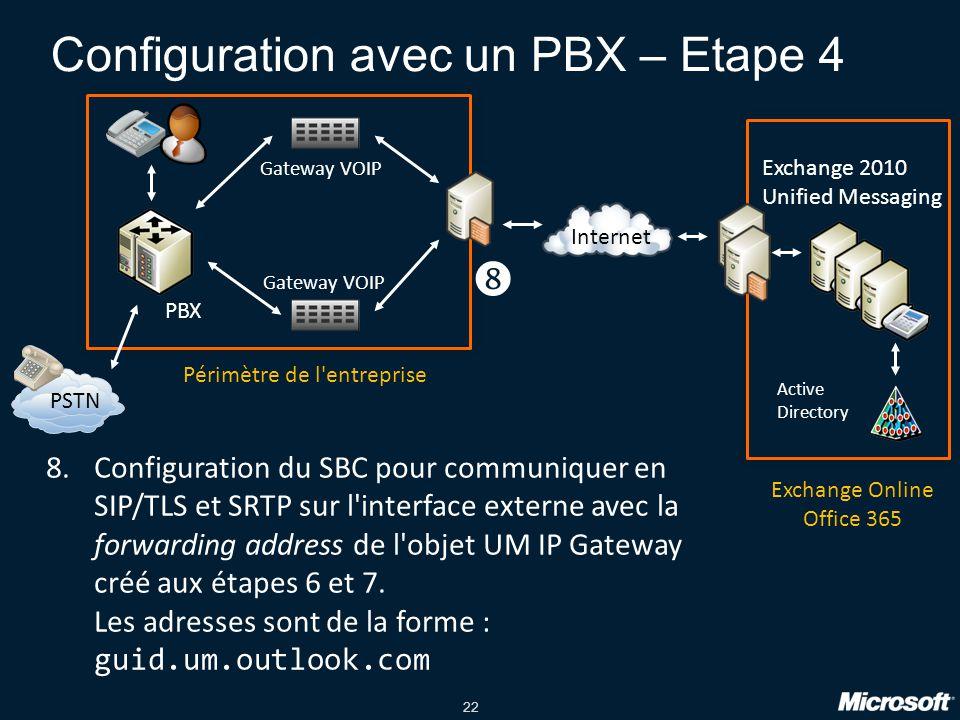 22 Configuration avec un PBX – Etape 4 PBX PSTN Gateway VOIP Exchange 2010 Unified Messaging Internet Active Directory Périmètre de l entreprise Exchange Online Office 365 8.Configuration du SBC pour communiquer en SIP/TLS et SRTP sur l interface externe avec la forwarding address de l objet UM IP Gateway créé aux étapes 6 et 7.