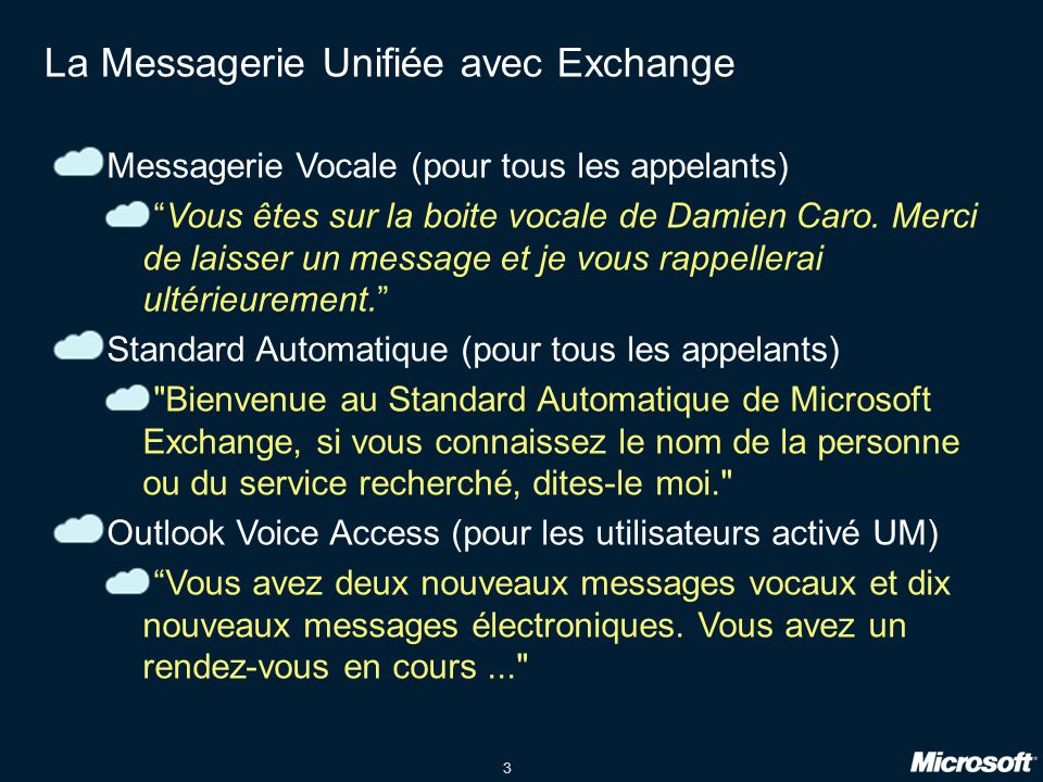 3 La Messagerie Unifiée avec Exchange Messagerie Vocale (pour tous les appelants) Vous êtes sur la boite vocale de Damien Caro.
