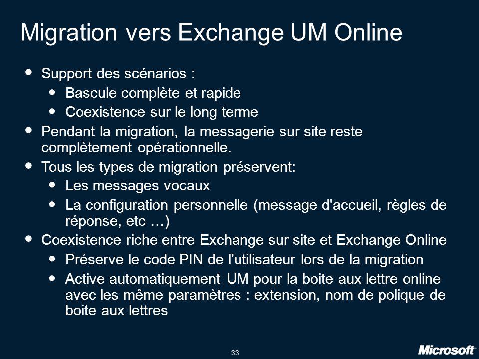 33 Migration vers Exchange UM Online Support des scénarios : Bascule complète et rapide Coexistence sur le long terme Pendant la migration, la messagerie sur site reste complètement opérationnelle.